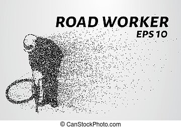 Road worker of the particles. Road worker with a jackhammer. Vector illustration