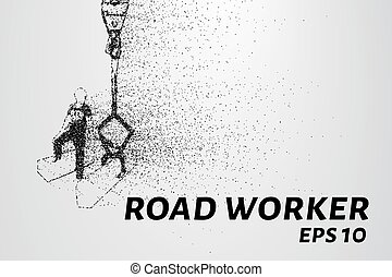 Road worker of the particles. Road worker puts a curb....