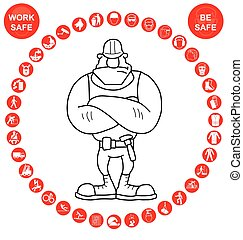 Red circular Health and Safety Icon - Red construction...