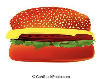 Cheese Burger - A large cheese burger in a sesame bun.