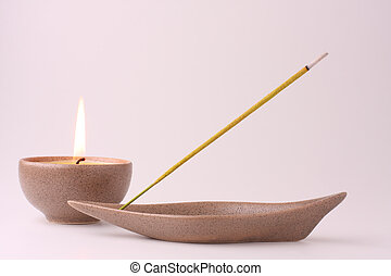 Meditation - candle and incense stick in pastel shades