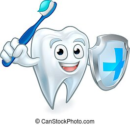 Sword and Shield Tooth Mascot - A cartoon cute tooth dental...