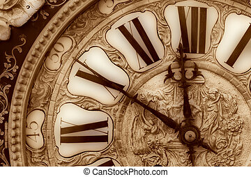 Old clock - Close-up of antique clock of the eighteen...