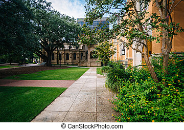 Walkway and the exterior of Trinity Episcopal Cathedral, in...