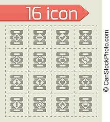 Vector Database icon set on grey background