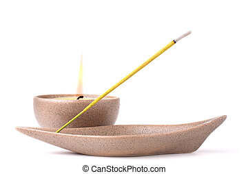 Meditation - Candle and incense stick isolated on white...