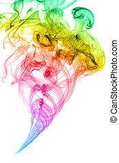 Rainbow smoke  - Rainbow colored smoke isolated on white