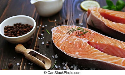 Fresh Raw Salmon Red Fish Steak