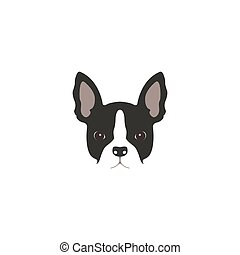 French bulldog logo - French bulldog head isolated on white...