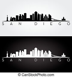 San Diego skyline silhouette - San Diego USA skyline and...