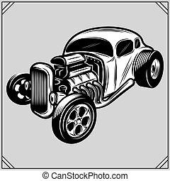 illustration of a stylish monochrome hotrod on a gray...