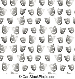 Theatre masks of drama and comedy on white, seamless pattern...
