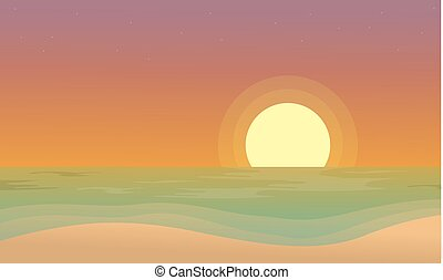 At sunset beach scenery of silhouettes design vector