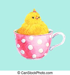 Cute yellow chick in a cup