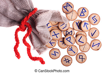 Runes and pouch isolated - runes and pouch isolated on white...