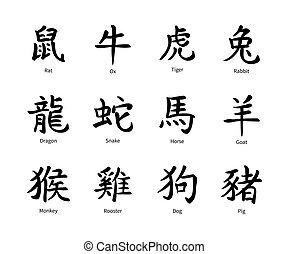 Chinese zodiac symbols, black hieroglyphs isolated on white...