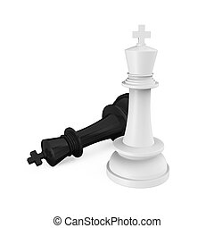 Chess King Pieces Checkmate isolated on white background. 3D...