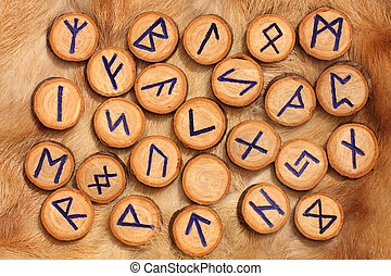 Runes on the fur - Handmade wooden rune on the fur...
