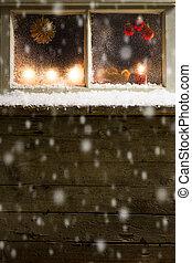 christmas decoration on a window - romantic christmas...