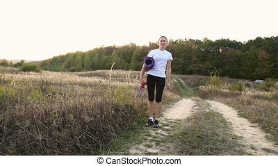 woman walking with a workout