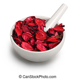 Mortar with dry rose petals