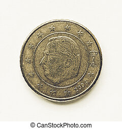 Vintage Belgian 50 cent coin - Vintage looking Currency of...
