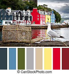 Tobermory Palette - Tobermory quayside with colourful...