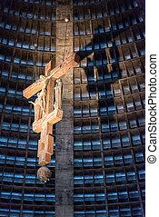 Christ shadow at Metropolitana - RIO DE JANEIRO, BRAZIL -...