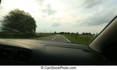 Fast driving in the car. POV the passenger seat