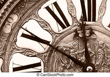 Old clock - Close-up of antique clock of the nineteenth...