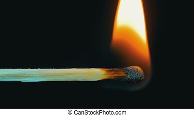 Burning Match And Flame. Safety Match close-up on a black...