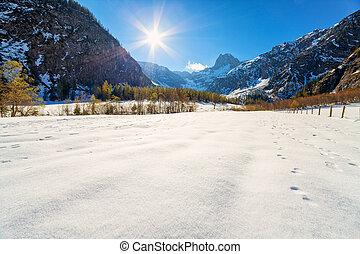 paysage, tard,  Tyrol, hiver, alpes, automne, tôt, Autriche