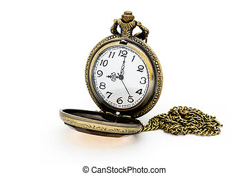 Old pocket watch isolated on white background.