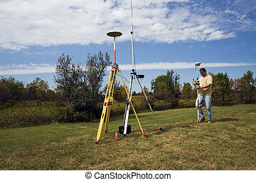 GPS survey - surveyor in the field