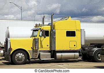 amarillo, semi, camión