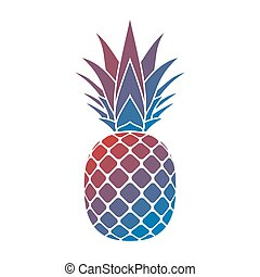 pineapple yellow icon - Pineapple with leaf icon. Tropical...