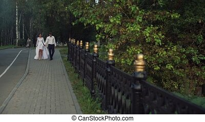 Young beautiful couple walking through the park on their...