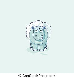 Vector Illustration Emoji character cartoon ballerina Hippopotamus with angry emotion