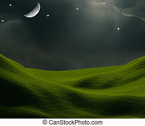 moon stars and field background