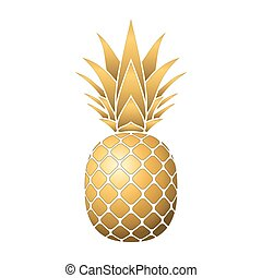 pineapple gold icon - Pineapple gold icon. Tropical fruit,...