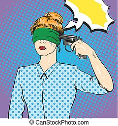 Woman with tied eyes put gun to her head in attempt of...