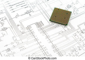 Integrated micro electronics component on microcircuit diagram drawing