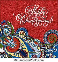Happy Thanksgiving handwritten lettering inscription for...