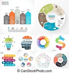 Vector circle infographic set. Business diagrams, arrows graphs, linear presentations, idea cycle charts. Data options, parts, 5 steps. Light bulb, businessman brain, puzzle dollar.