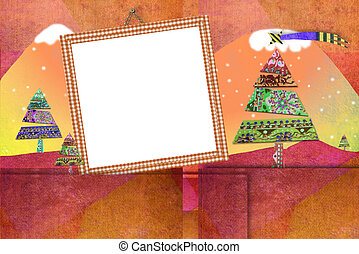 Christmas photo frame cards cute landscape