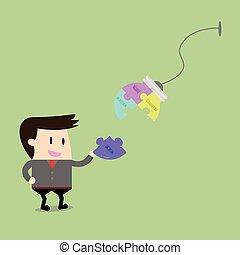 Businessman have jigsaw puzzles ideas conceptual.Flat design