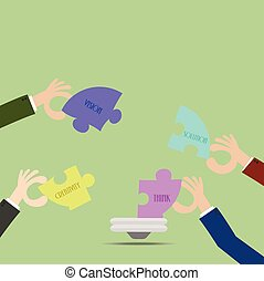 Businessman helping jigsaw puzzles ideas conceptual.Flat design