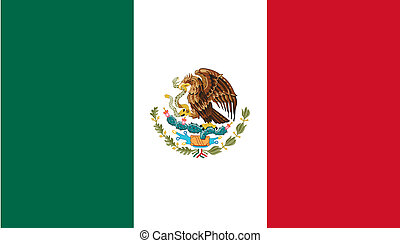 Mexico Flag - Sovereign state flag of country of Mexico in...