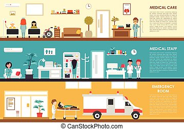 Medical Care and Staff Emergency room flat hospital interior...