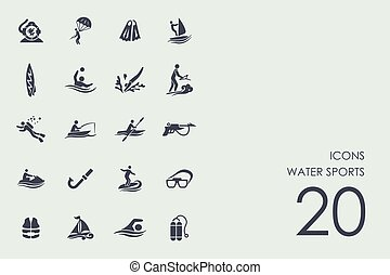 Set of water sports icons - water sports vector set of...